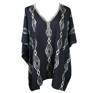 Chico's Poncho Tunic Top Large XL Black Beige